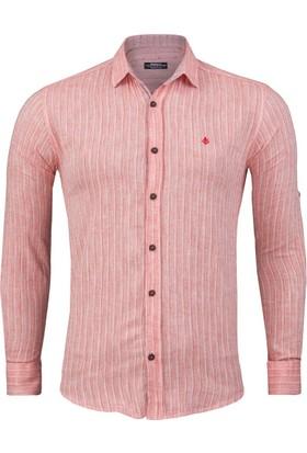 Madmext Çizgi Desenli Klasik Kırmızı Gömlek