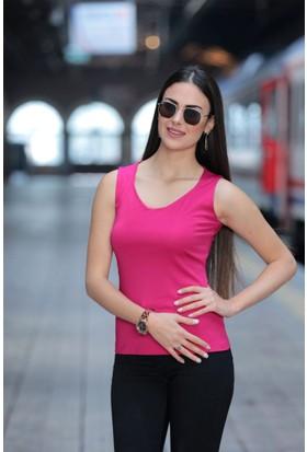 Stil Town Altıgen Yaka Kolsuz Bluz