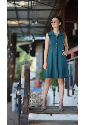 Stil Town Kolsuz Düğmeli Elbise