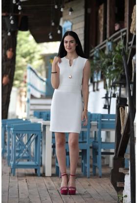 Stil Town Kesik Yaka Elbise