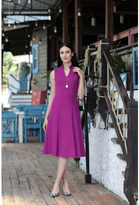 Stil Town Kolsuz Dik Yaka Elbise
