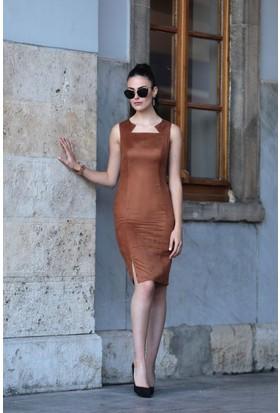 Stil Town Süet Rüya Yaka Elbise