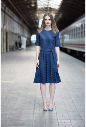 Stil Town Çizgili Elbise