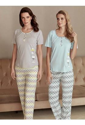 Fantasy F-5018 Helezon Kısa Kol Kadın Pijama Takımı