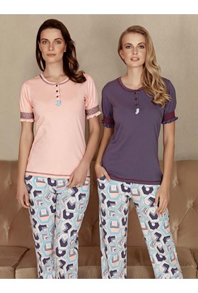 Fantasy F-5031 Geometrik Desen Kısa Kol Kadın Pijama Takımı