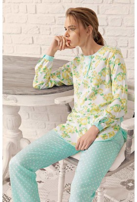 Fantasy F-6000 Limon Desenli İkili Kadın Pijama Takımı