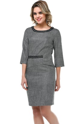 B&S Line Simli Yaka Bel Detaylı Gri Elbise