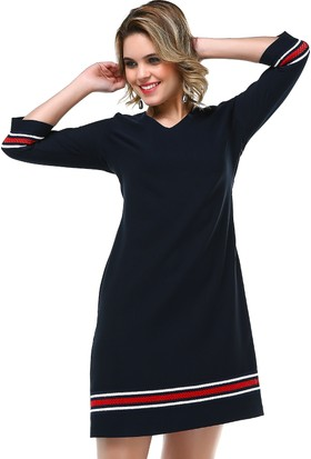 B&S Line Sırt Detaylı Lacivert Elbise
