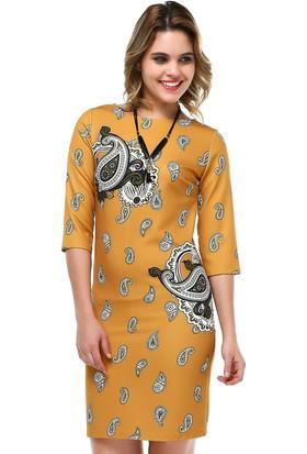 B&S Line Hardal Şal Desen Pano Elbise