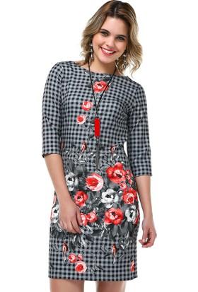B&S Line Mercan Çiçekli Pano Elbise
