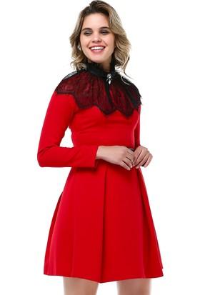 B&S Line Dantel Detaylı Tüllü Kırmızı Elbise