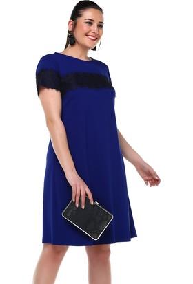 B&S Line Dantel Detaylı Saks Elbise