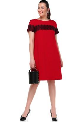 B&S Line Dantel Detaylı Kırmızı Elbise