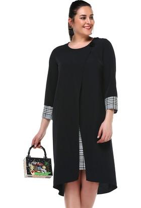 B&S Line Ekose Garnili Siyah Düz Elbise