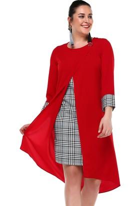 B&S Line Ekose Garnili Kırmızı Düz Elbise