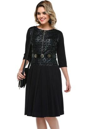 B&S Line Deri Dantelli Siyah Süet Elbise