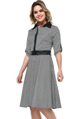 B&S Line Siyah Beyaz Ekoseli Deri Detaylı Elbise