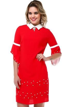 B&S Line İnci Detaylı Kırmızı Elbise