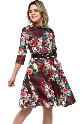 B&S Line Yakası Taşlı Kırmızı Çiçek Desenli Elbise