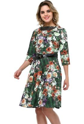 B&S Line Yakası Taşlı Yeşil Çiçek Desenli Elbise
