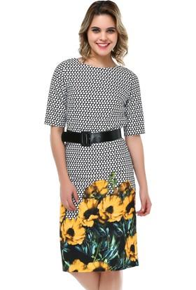 B&S Line Sarı Çiçekli Kareli Elbise