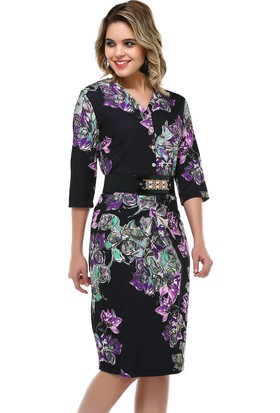 B&S Line Siyah Çiçekli Kemerli Elbise