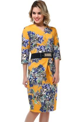 B&S Line Sarı Çiçekli Kemerli Elbise