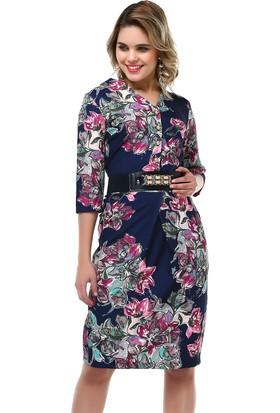 B&S Line Lacivert Çiçekli Kemerli Elbise