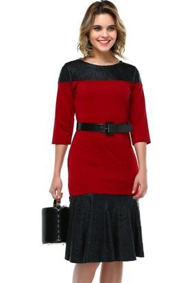 B&S Line Kırmızı Yakma Deri Garnili Elbise