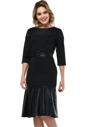 B&S Line Siyah Yakma Deri Garnili Elbise