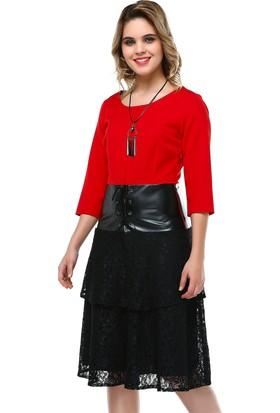 B&S Line Kırmızı Deri Garnili Bağlamalı Elbise