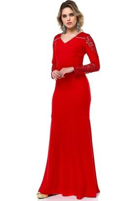 B&S Line Dantel Detaylı Abiye Elbise Kırmızı