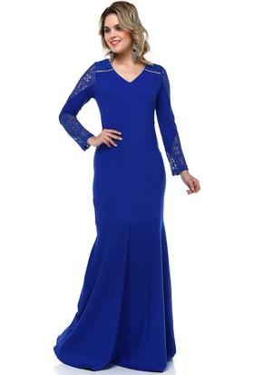 B&S Line Dantel Detaylı Abiye Elbise Saks