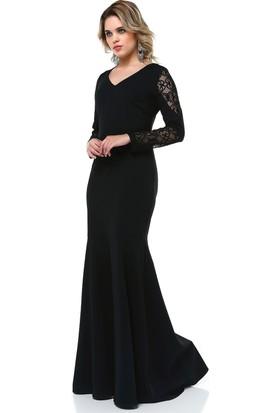 B&S Line Dantel Detaylı Abiye Elbise Siyah