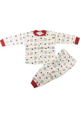 Babycan Ayıcık Desenli Çocuk Pijama Takımı Kırmızı 1 - 3 Yaş