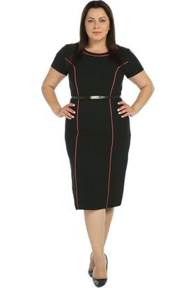 Nidya Moda Büyük Beden Somon Biye Siyah Elbise