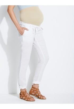 Colline Hamile Beyaz Keten Pantolon