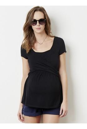 Colline Hamile ve Emzirme Siyah T-Shirt