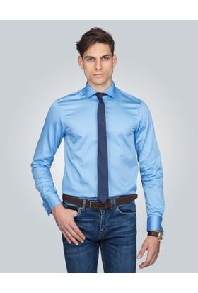 Tudors Slim Fit Mavi Erkek Gömlek