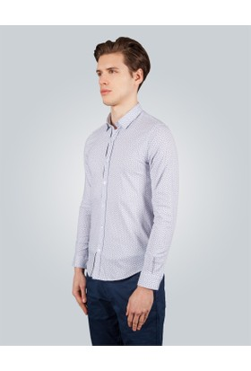 Tudors Slim Fit Baskılı Beyaz Erkek Gömlek