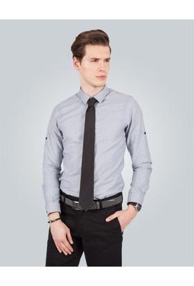 Tudors Slim Fit Baskılı Gri Erkek Gömlek