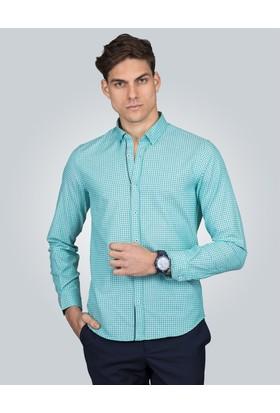 Tudors Slim Fit Baskılı Turkuaz Erkek Gömlek