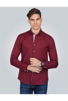 Tudors Slim Fit Spor Bordo Gömlek