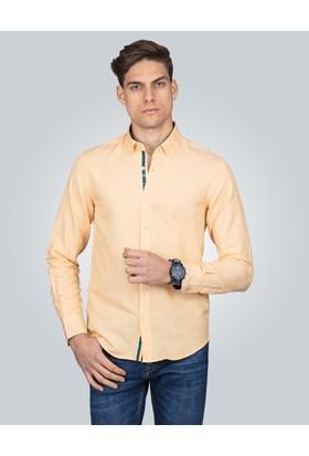 Tudors Slim Fit Spor Sarı Erkek Gömlek
