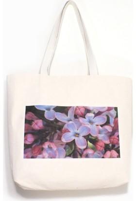 Dalından Leylak Çiçekleri Çok Amaçlı Kanvas Bez Çanta
