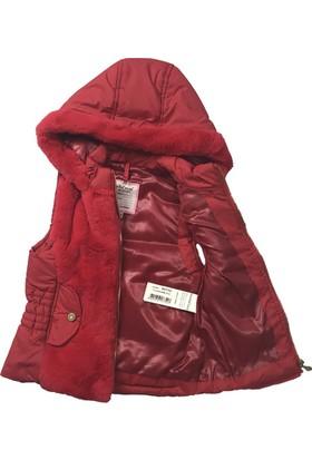 Midimod Kız Çocuk Kapşonlu Yelek Kırmızı 17751