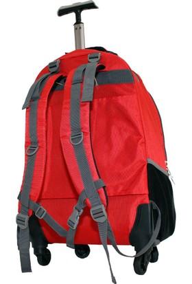 Ççs 40124-K Kırmızı Çek Çekli Tekerlekli Küçük Sırt Çantası