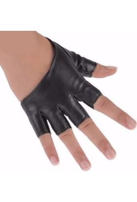 Hane14 Punky Parmaksız Yarım Deri Eldiven Siyah