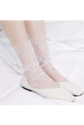 Hane14 Lace Fashion Taşlı Dantel Tül Kısa Çorap Beyaz