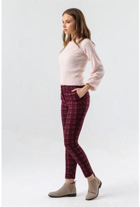 Jument 2446 Bordo Ekose Kadın Pantolon